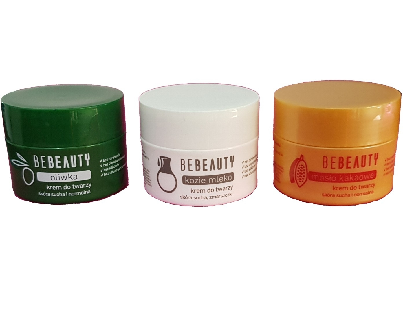 PACK 3 CREMAS BE BEAUTY OLIVA 50 ML REGULAR + LECHE DE CABRA 50 ML REGULAR + MANTECA DE CACAO 50 ML REGULAR