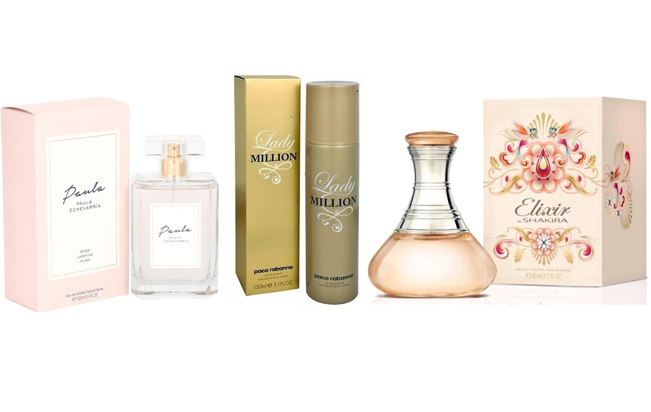 LOTE LADY MILLION DESODORANTE SPRAY 150ML REGULAR + PAULA ECHEVARRIA EDT 100 ML @ +  ELIXIR BY SHAKIRA EDT 80 ML @