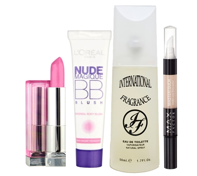 PACK 4 PRODUCTOS: MAYBELLINE COLOR SENSATIONAL LIPSTICKS 140 JUICY BUBBLEGUM 4,2 GR REGULAR +  LOREAL NUDE MAGIQUE BB CREAM BLUSH 15 ML REGULAR + INTERNATIONAL FRAGRANCE NUMERO 32 EDT 50 ML + MAX FACT