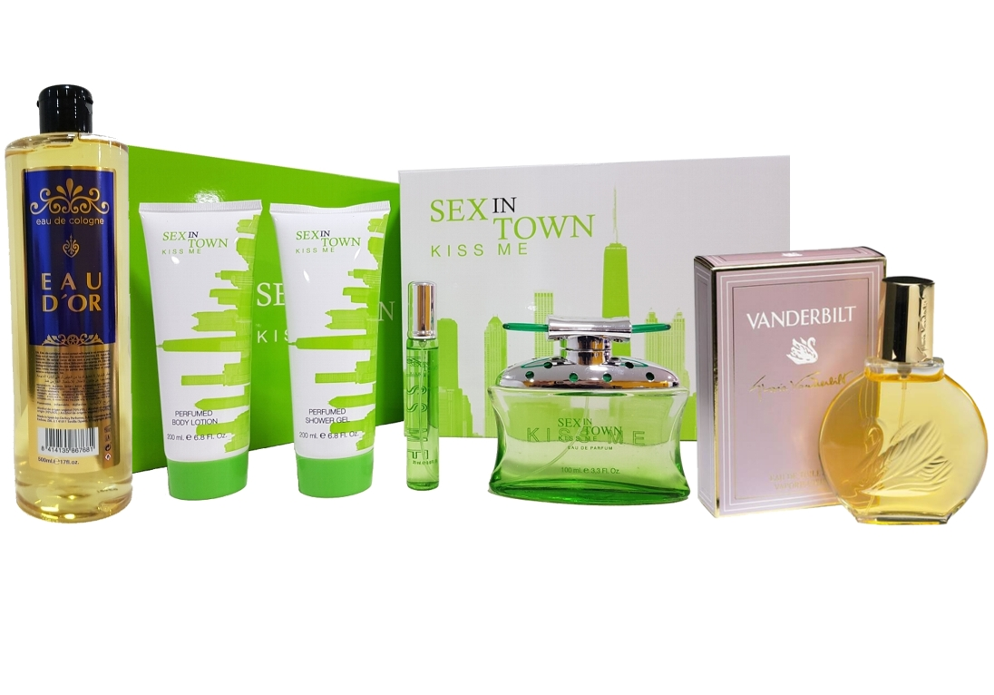 SUPERPACK VANDERBILT WOMAN EDT 100ML @ + SET REGALO SEX IN THE TOWN KISS ME EDP 100 ML + GEL DUCHA 200 ML + BODY LOCION 200 ML + MINIATURA 20 ML REGULAR + EAU D`OR EDC 500 ML REGULAR (Sin caja)