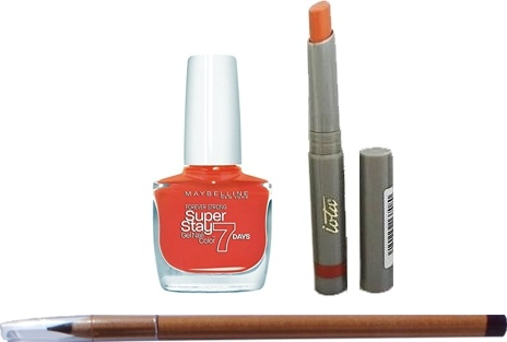 PACK 3 PRODUCTOS: PINTAUÑAS MAYBELLINE FOREVER STRONG N 460 ORANGE COUTURE + LIPSTICK IOTA 708 TERRACOTA + LAPIZ LABIOS MARIE FRANCE COLOR MARRON 1G2