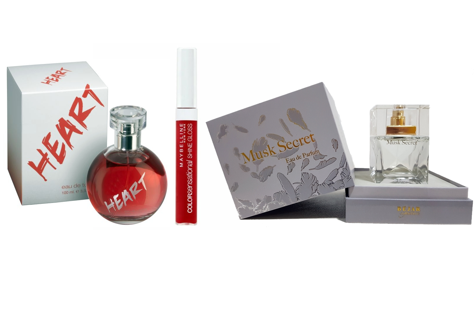 PACK ESPECIAL DIA DE LA MADRE: HEART EDT 100 ML + MAYBELLINE GLOSS 550 + BEJAR SIGNATURE MUSK SECRET EDP 75 ML REGULAR