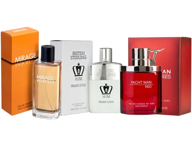 PACK ESPECIAL PARA HOMBRES: YACHTMAN RED MEN EDT 100 ML REGULAR + MIRAGE EDT 100 ML REGULAR + BRITISH STERLING PRIVATE STOCK EDT 100 ML REGULAR