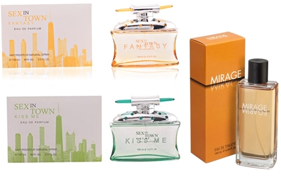 PACK 3 PRODUCTOS: SEX IN THE TOWN KISS ME EDP 100 ML REGULAR + SEX IN THE TOWN FANTASY EDP 100 ML REGULAR + MIRAGE EDT 100 ML REGULAR